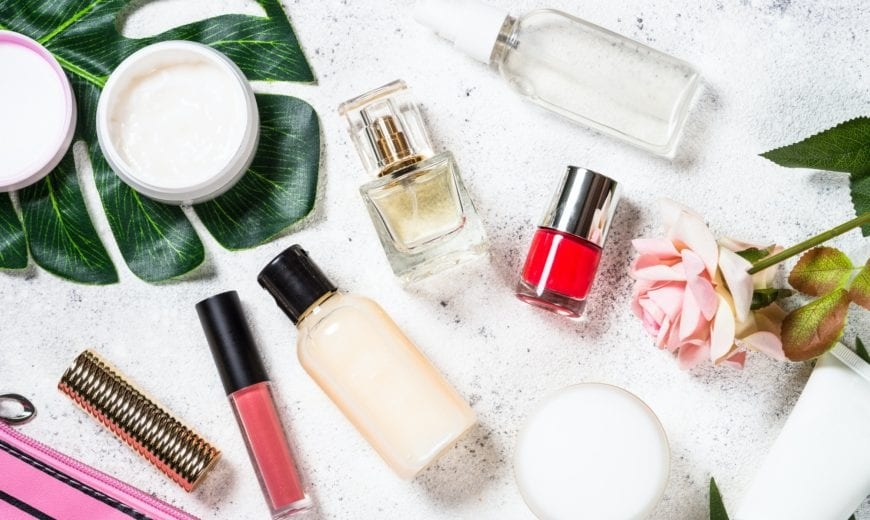 Cosmetic beauty products on white