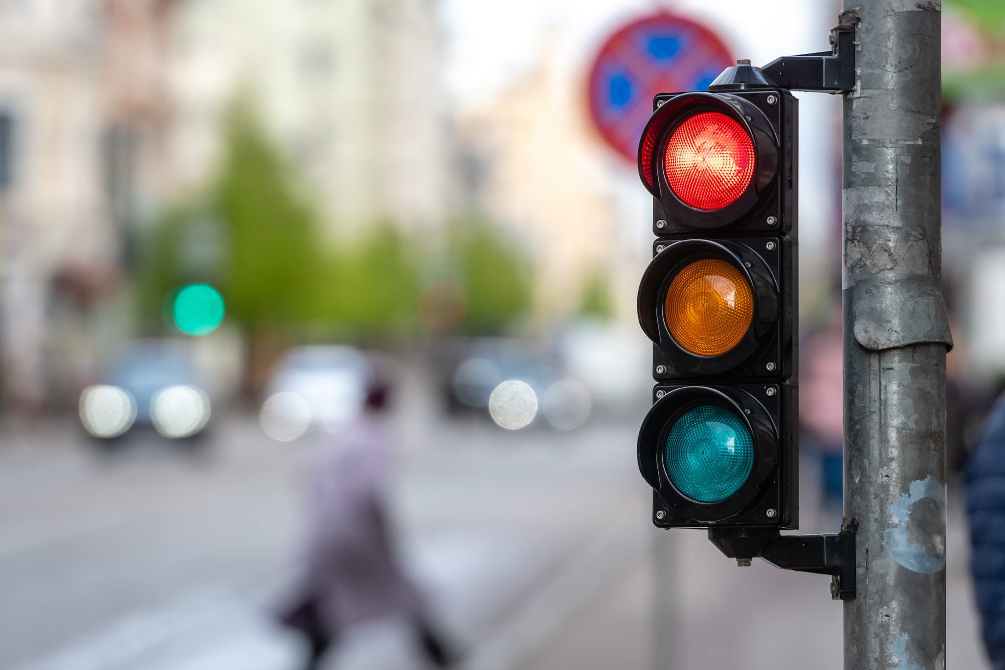 A city crossing with a semaphore. Red light in semaphore. light, semaphore, city, traffic, safety, s