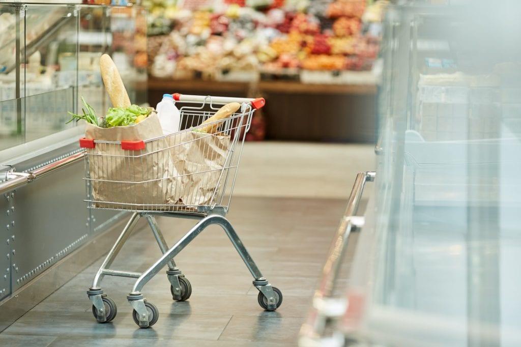 Shopping Cart in Supermarket Interior