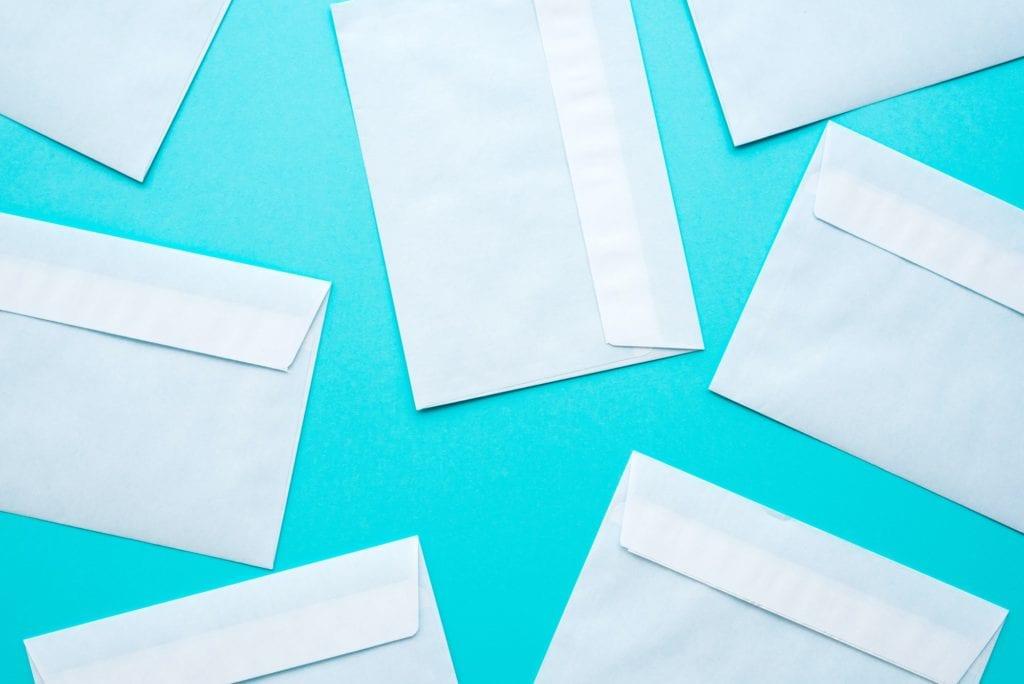 White mail envelopes mock up