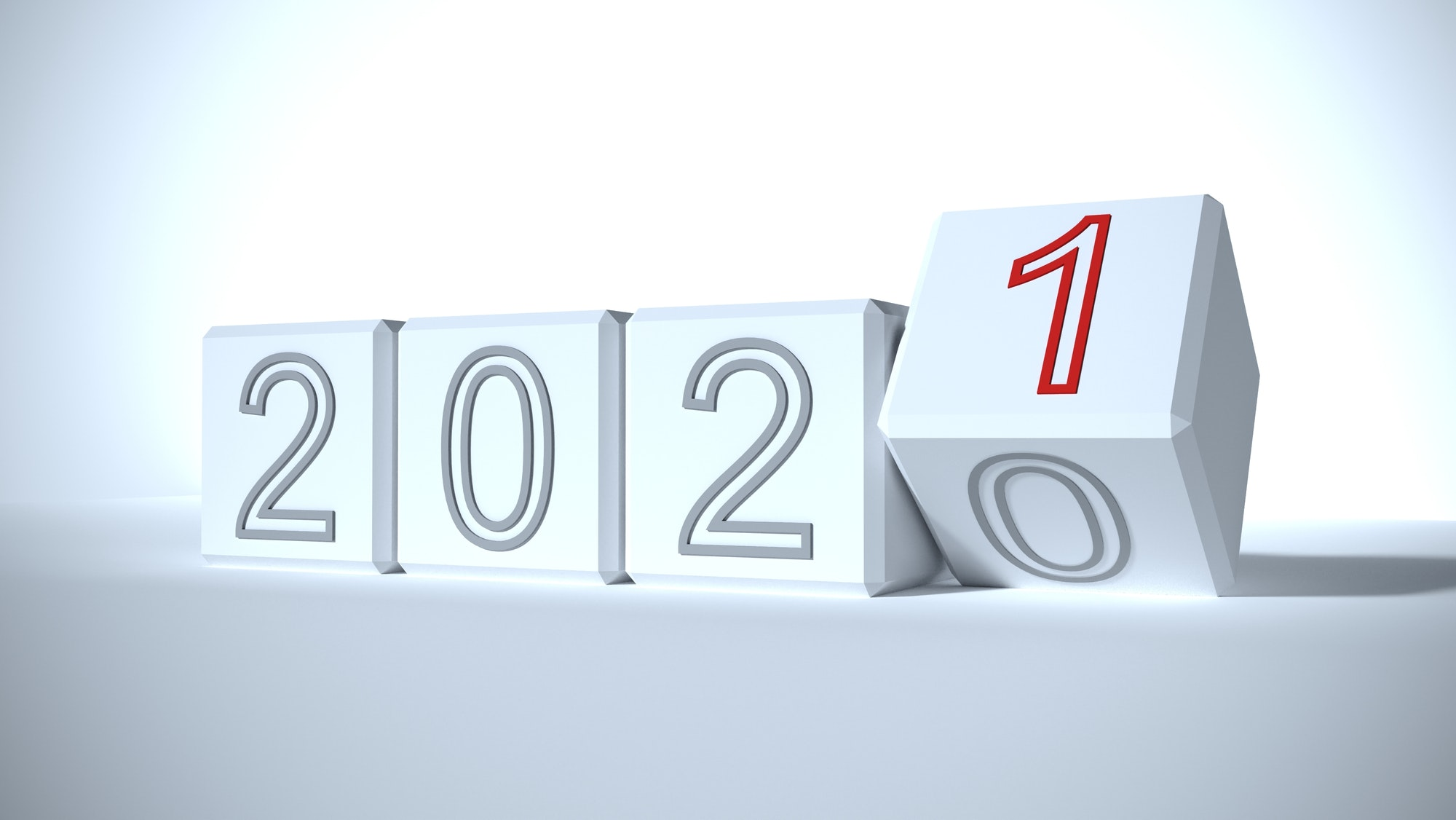 2021 white blocks New year change, turn. 2021 start and 2020. 3D rendering
